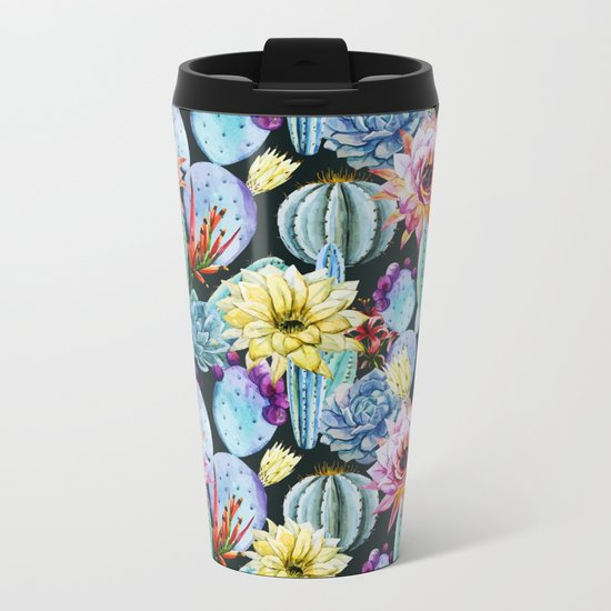 Cactus Pattern 12 Metal Travel Mug