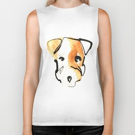 Black Ink and Watercolor Jack Russell Terrier Dog Biker Tank