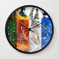 legend of korra Wall Clocks featuring Legend of Korra Elements by paulovicente