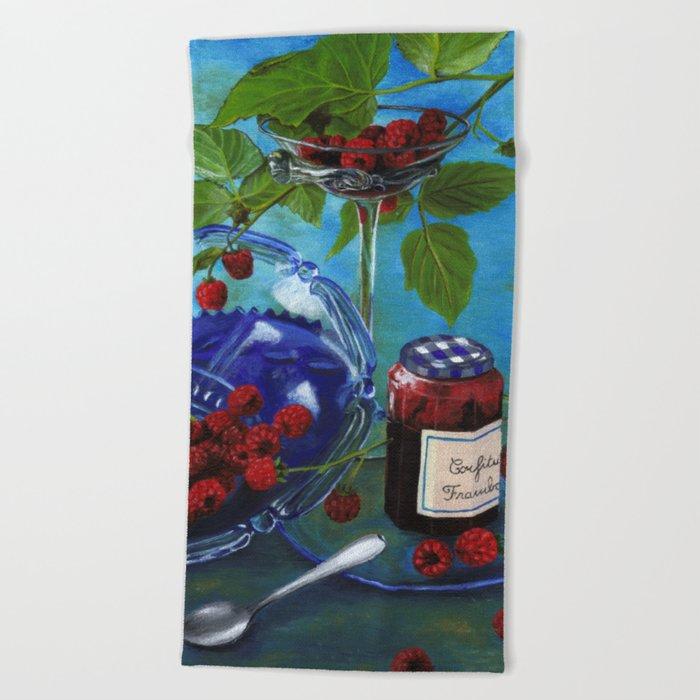 Still-life with raspberries Beach Towel