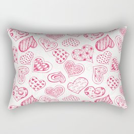 Pattern with red hearts Rectangular Pillow