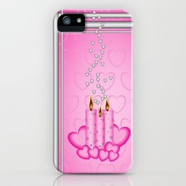 Candles and hearts iPhone Case