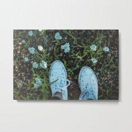 Converse & Flowers Metal Print