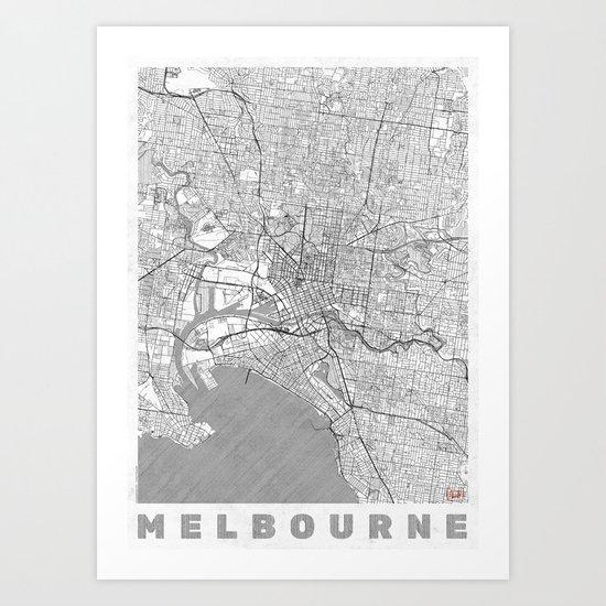 Melbourne Map Line Art Print