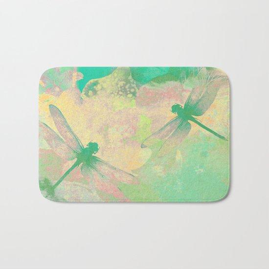 Green Painting Dragonflies Bath Mat
