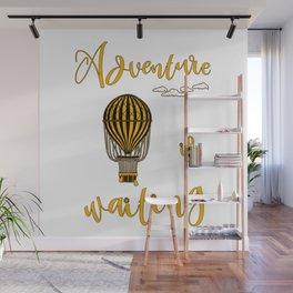 Adventure is Waiting Retro Hot Air Balloon Pilot Wall Mural