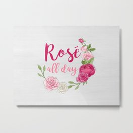 Rose All Day - White Wood Metal Print