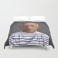 picasso Duvet Covers featuring Celebrity Sunday ~ Pablo Picasso by rob art | illustration