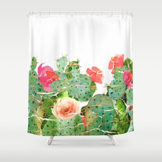17 Green And Pink Cactus Shower Curtain Shower Curtains