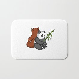 Grizzly Bear And Panda Bear Together Bath Mat