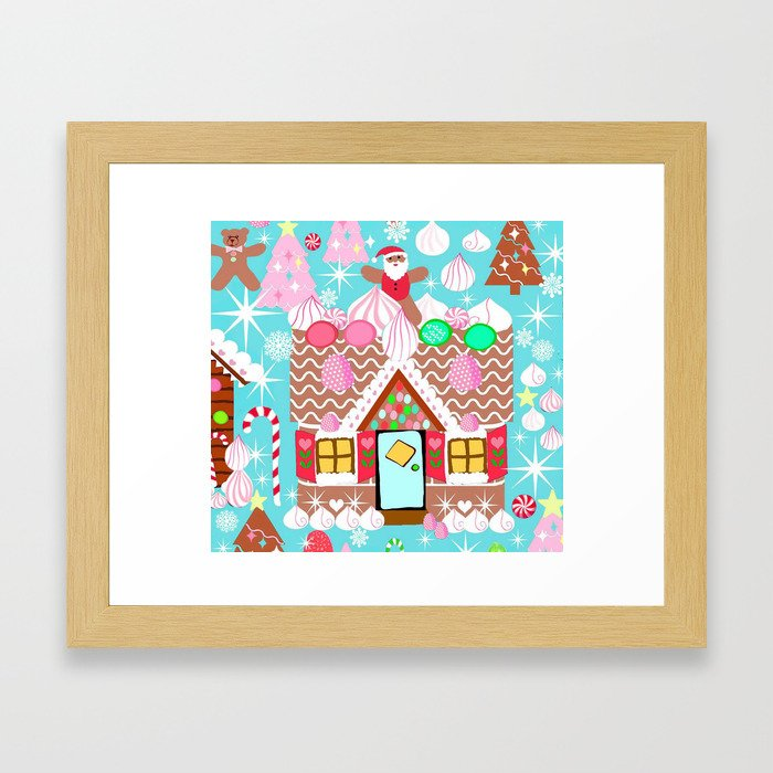 Gingerbread House Christmas Holiday village Framed Art Print