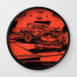 Vintage Auto Races Poster Wall Clock