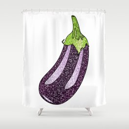 Glitter Eggplant Shower Curtain