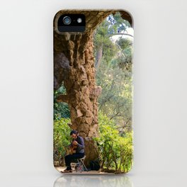 Musician in Park Guell, Barcelona iPhone Case