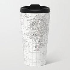 World Map ~ White on White Travel Mug