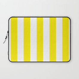 Canary yellow - solid color - white vertical lines pattern Laptop Sleeve