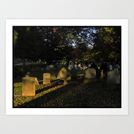 Headstones in a Fall Sunset Art Print