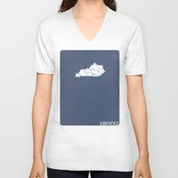 kentucky V-neck T-shirts featuring Kentucky Minimalist Vintage Map by Finlay McNevin