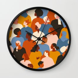 Diverse group of stylish people standing together. Wall Clock