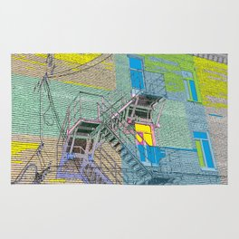 facade with fire escape Rug