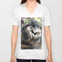 animal skull V-neck T-shirts featuring Animal Skull by CJ Thornburg