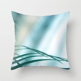 Blade of grass leaves defocused with copy space blue background Throw Pillow
