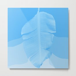 Tropical Banana Leave Pastel Blue Ombre Design Metal Print