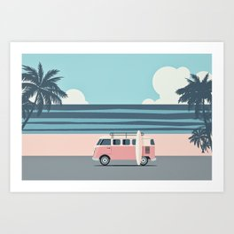 Surfer Graphic Beach Palm-Tree Camper-Van Art Art Print