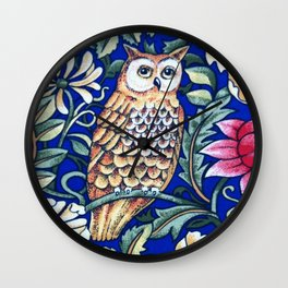 Art Nouveau Owl Tapestry, Beige and Cobalt Blue Wall Clock