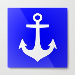 Anchor (White & Blue) Metal Print
