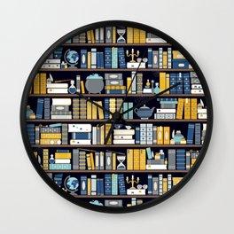 Book Case Pattern - Blue Yellow Wall Clock