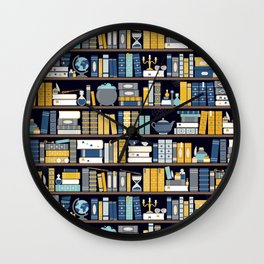 Book Case Pattern - Blue Yellow Wall Clock