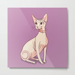 Nude Cat - Hairless Sphynx Kitty Wearing a Collar - Elegant - Wrinkles - Lilac Metal Print