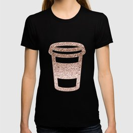 Sparkling rose gold coffee cup T-shirt