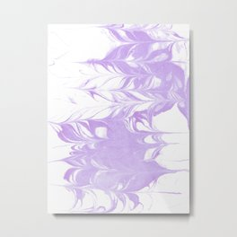 Marble pattern purple and white minimal inked minimalism marbled art Metal Print