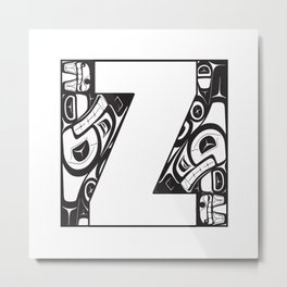 Northwest Pacific Coast American Native Totem White Letter Z Metal Print