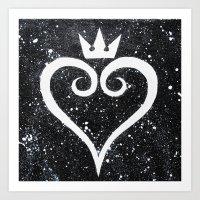 kingdom hearts Art Prints featuring Kingdom Hearts Heart by Herk Designs