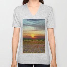 Red poppies and bluebells amid the setting sun Unisex V-Neck