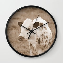 Spotted Long Horn Calf Photograph Wall Clock
