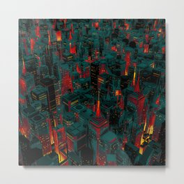 Night city glow cartoon Metal Print