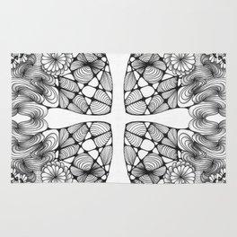 Black and White Zentangled Cross Tile Doodle Design Rug