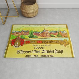 Vintage 1866 Wine Bottle Label Klusserather Bruderschaft Rug