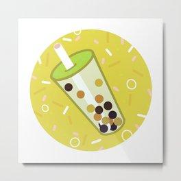 Bubbly Yellow Metal Print