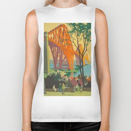Mid Century Colorful Travel Posters Forth Bridge British Railways Biker Tank