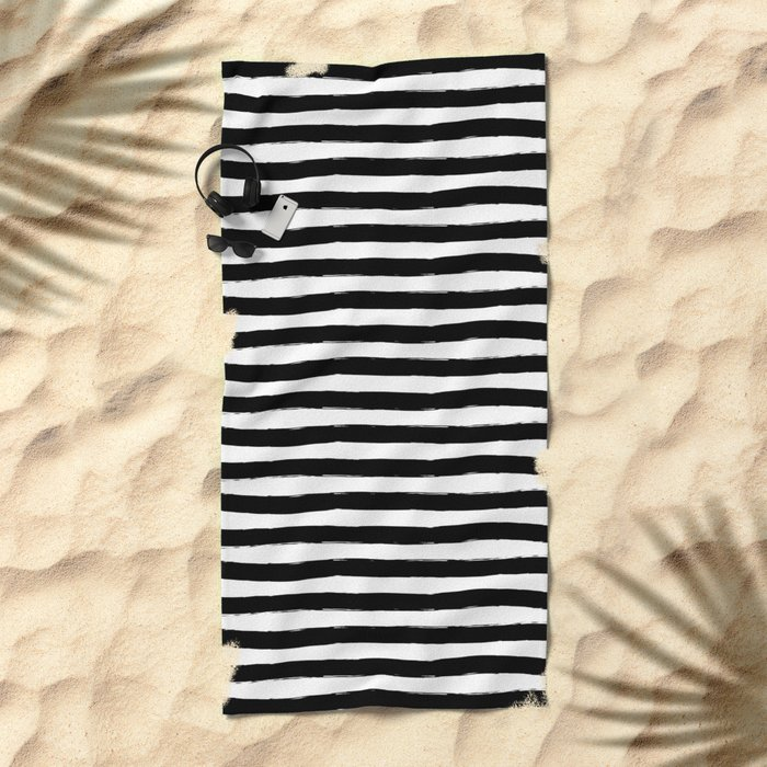 Black And White Hand Drawn Horizontal Stripes Beach Towel