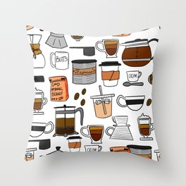 Coffee, Coffee Everywhere and All the Drops to Drink Throw Pillow