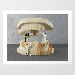 little people brushing teeth Art Print