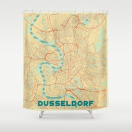 Dusseldorf Map Retro Shower Curtain