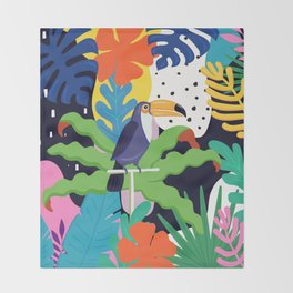 Bold Tropical Jungle Abstraction With Toucan Memphis Style Throw Blanket