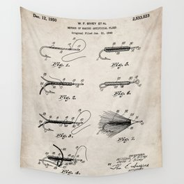 Fly Fishing Patent - Fisherman Art - Antique Wall Tapestry